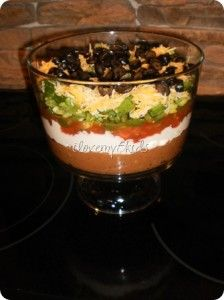 Mexican Layered Dip in Trifle Bowl