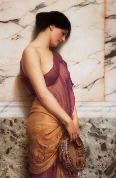 John William Godward: The Tambourine Girl preraphaelit, john william godward, johnwilliamgodward, beauti, paint, tambourin girl, artist, 1906, godward 18611922