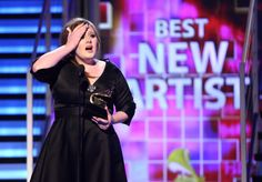 Adeleis rolling in tears as she accepts the Best New Artist award at the 51st GRAMMYs in 2009