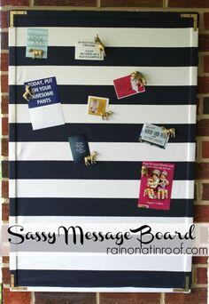 Quick and easy bulletin board upgrade!  Sassy Fabric Covered Message Board {rainonatinroof.com} #messageboard #trashtotreasure
