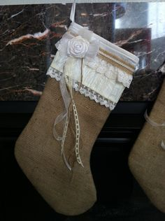 Burlap Satin & Lace Ivory Christmas Stocking 1554. $38.00, via Etsy.