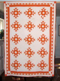 Antique Orange and White Quilt 1920's