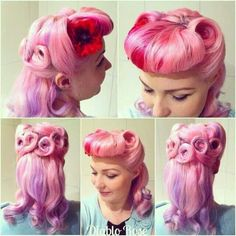 Pink, red and purple pastel bumper bangs and curls. #pink #multi_colour #vintage #rockabilly #hair