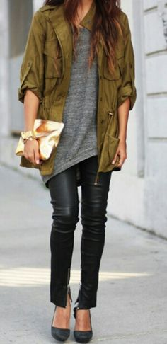 casual chic. Army green jacket. Gray tee. leather leggings + heels.