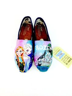 OH MY GOD I MUST HAVE THESE! Customized Frozen Elsa & Anna Disney Toms by Artsysole45 on Etsy. If I could get these, I would cry.