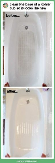 best Kohler approved ROG3 kit bathtub cleaner and stainremover rog3.com. pams blog at retrorenovation.com before and after pics amazing. check her out she recommends ROG3 bathtub cleaner kit and many other great products. Pams blogs and reviews are non-bias, fact based, honest, accurate, and saves  time and money. check out her review of ROG cleaner in which she interviews Kohler who tells her ROG3 is kohler approved and why not to use lemon ease , baking soda, and vinegar. check it out