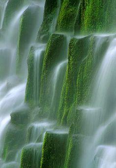 Gorgeous waterfalls over brilliant green moss covered rocks. harvestheart: