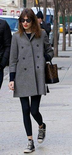 Alexa 2014 coat, hair, sunglasses, converses, red lips.