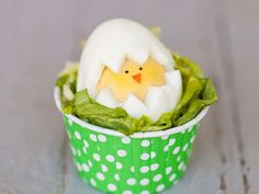 Hard Boiled Egg Chick. So cute! Simple Instructions: http://www.hgtv.com/handmade/make-a-hatching-chick-egg-for-easter/index.html?soc=pinterest