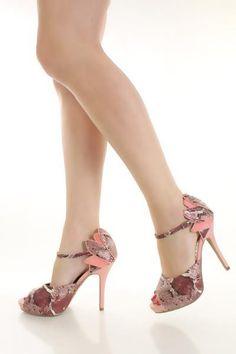 Pink Multi Textured Snake Skin Faux Leather Peep Toe Heels