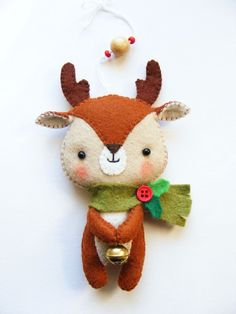 PDF pattern - Cute Little Reindeer - Felt Christmas tree ornament, hand sewing DIY project, easy sewing pattern, pocket toy