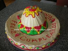 Sombrero Cake: I made this Sombrero cake for a friend's 29th birthday party.  I was asked to make a cake to suit a Mexican themed surprise party that would feed 60 people.