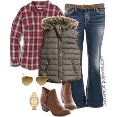 """#plus #size #outfit #fall """"Plus Size - Vest & Jeans"""" by alexawebb on Polyvore @alexandrawebb"""