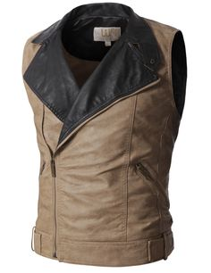Doublju Mens Zip Up Vest with Faux Leather Beige