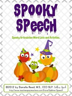 Updated Spooky Speech freebie! #SLPeeps #SLP2b #Halloween from @SublimeSpeech