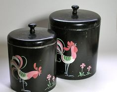 Two Ransburg Tin Canisters with Roosters Made in USA by borahstyle, $35.00
