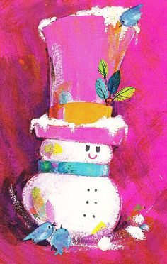 1960s Vintage Christmas Card Snowman