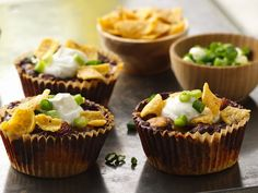 Chili and Cornbread Cupcakes