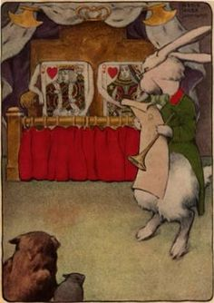 """""""Where shall I begin, please your Majesty.""""  Illustrated by Bessie Pease Gutmann, 1907, Alice's Adventures in Wonderland."""