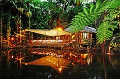 Primordial paradise in the midst of the jungle.  Julaymba Restaurant brings travelers right to the heart of the world's oldest rain forest. The 40-seat restaurant's terrace juts out over an ancient freshwater lagoon while tangled vines drape from the canopy above. From every direction, diners hear the sounds of some 430 species of birds, plus tree frogs, wild turkeys, and wallabies thumping through the brush. The distinctly Aussie menu incorporates pepper berries, wattle seeds, and other nati...