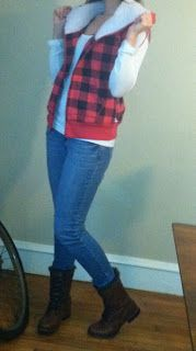 Meet Me on the Bright Side: Sherpa Lined Plaid Vest- DIY Tutorial- No Sew