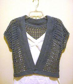 Free Crochet Shrug Patterns | The Handmade Way: The Short Sleeved Crochet Shrug with the Denim Look