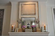 mantels, decor, wheat, mirrors, idea, sconc, live room, mantles, antique doors