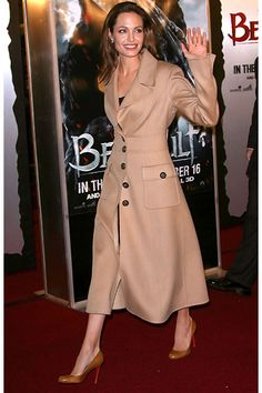 angelina jolie - escada camel coat