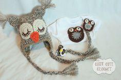 Woodsy Owl Crochet Hat Bodysuit  Pacifier Clip by CozyCuteCrochet, $51.00