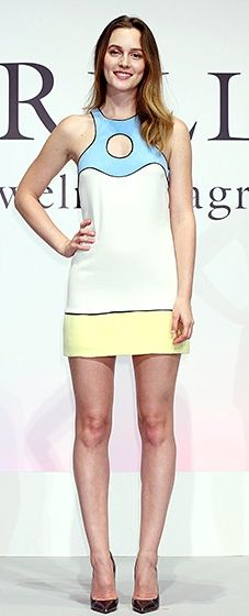 Leighton Meester wore a delicate pastel-color minidress with metallic pumps.