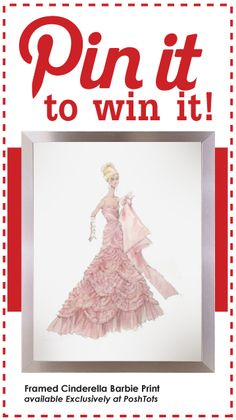 Re-pin this pin, follow @PoshTots' Pinterest page and be entered to win this fabulous Barbie Print. One winner will be chosen at random on 09/30/12. Framed Cinderella Barbie Print Available Exclusively at #PoshTots #MonthlyGiveaway #Pin-it-to-win-it #winit