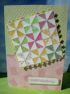 handmade card: Pinwheels by heather maria .... nine patch quilt with pinwheel patched blocks ... zig zag pinking shears cut look for border ... sewing around all of the tiny triangles ... luv it!