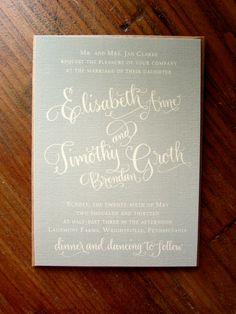 Calligraphy Wedding Invitation - Custom Design - Partial Calligraphy Letterpress or Digital Flat Print via Etsy.