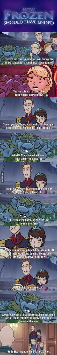 geek, how frozen should've ended, frozen xmen, children, awesom