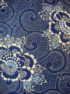 Vintage Katazome fabric, traditional Japanese stencil & paste resist