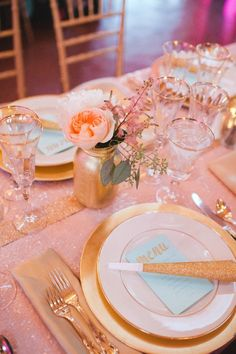 gold painted mason jars + soft peach flowers...but with pink/ white flowers @amytroup