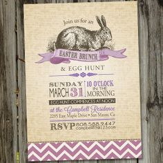 Vintage Easter Brunch Egg Hunt Bunny PRINTABLE Party Invitation. from PartyMonkey Etsy.