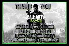 CALL OF DUTY MW3 4X6 THANK YOU NOTES WITH ENVELOPES