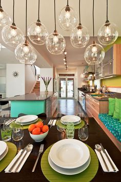 turquoise and yellow-green dining rooms, hanging lights, track lighting, light fixtures, casual dining, green kitchen, colorful kitchens, hous, pendant lights