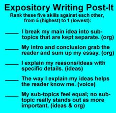 SELF-ASSESSMNT POST IT: Expository Writing Post-It