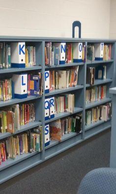 Cheap way of marking bookshelves.. Ikea magazine holders five for 1.99.