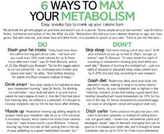Tips to max metabolism.