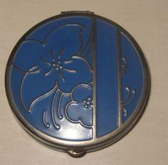 Vtg Antique Blue Enamel/Silver Tone Vanity Purse Compact with Powder  Puff