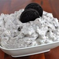 oreo fluff dessert---- 1 small box white chocolate instant pudding mix, 2 cups milk, 1 small tub cool whip, 24 oreos, crushed, 2 cups mini marshmallows    instructions in a large bowl whisk together the pudding mix and milk for 2 minutes.  add cool whip, oreos and marshmallows, stir well.  refrigerate until ready to serve.