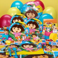 Addi wants a Dora Party- Birthday Express Deluxe Party Pack for 38.99 (out of stock though)