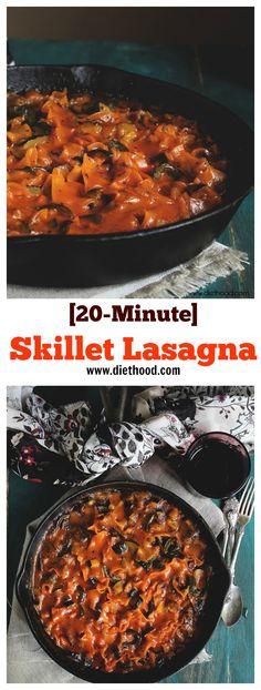 20-Minute Skillet Vegetable Lasagna | www.diethood.com | #recipe #dinner #lasagna #vegetarian
