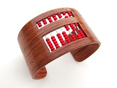 The Abacus Bracelet #jewelry #math #counting #woodworking #veneer #retro