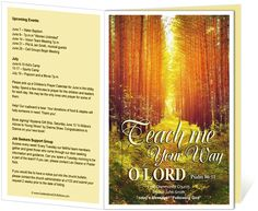 Church Bulletin Templates : Woods Church Bulletin Template with bible verse Psalm 86:11, Teach me your way O Lord.