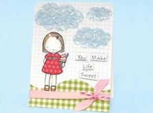 Craft Ideas : Projects : Details : you-make-life-sweet-card.  Pinned this for the cloud design using bubble wrap!