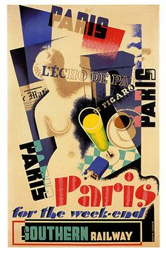 Paris For The Weekend. A vintage Southern Railway poster by Austin Cooper.